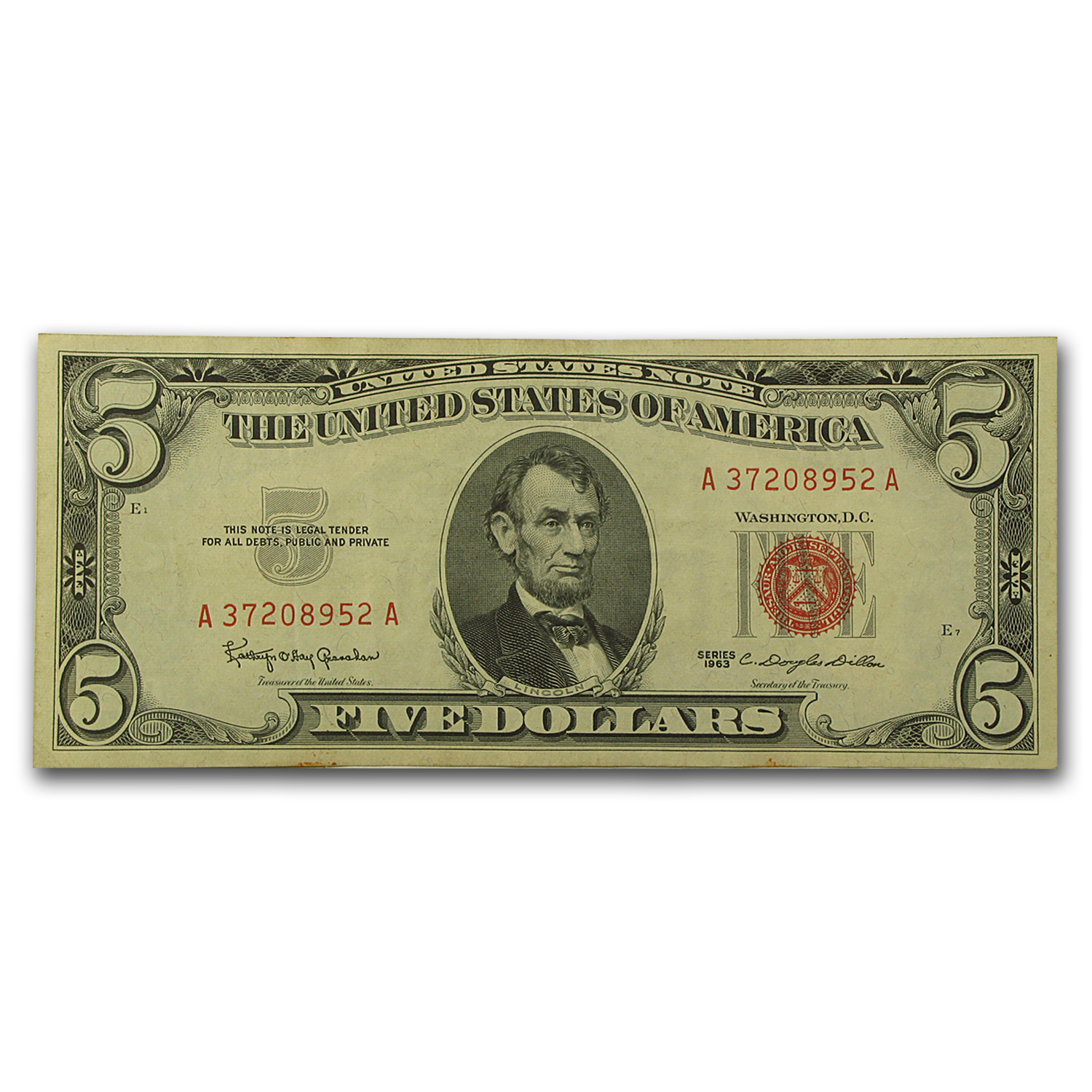 1963 $5.00 U.S. Note Red Seal XF