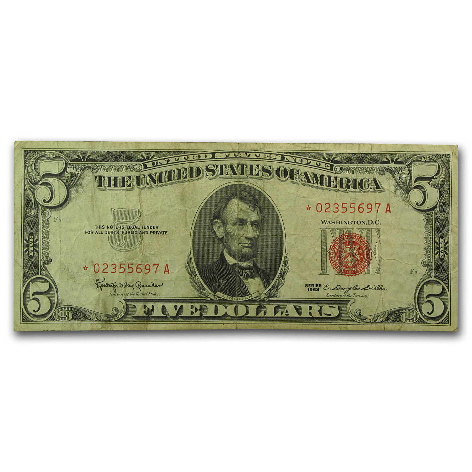 1963* $5.00 U.S. Note Red Seal Fine (Star Note)