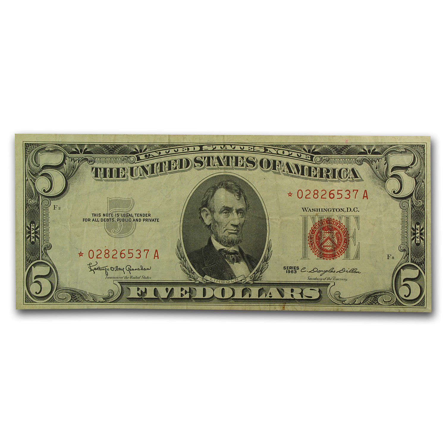 1963* $5.00 U.S. Note Red Seal VF (Star Note)
