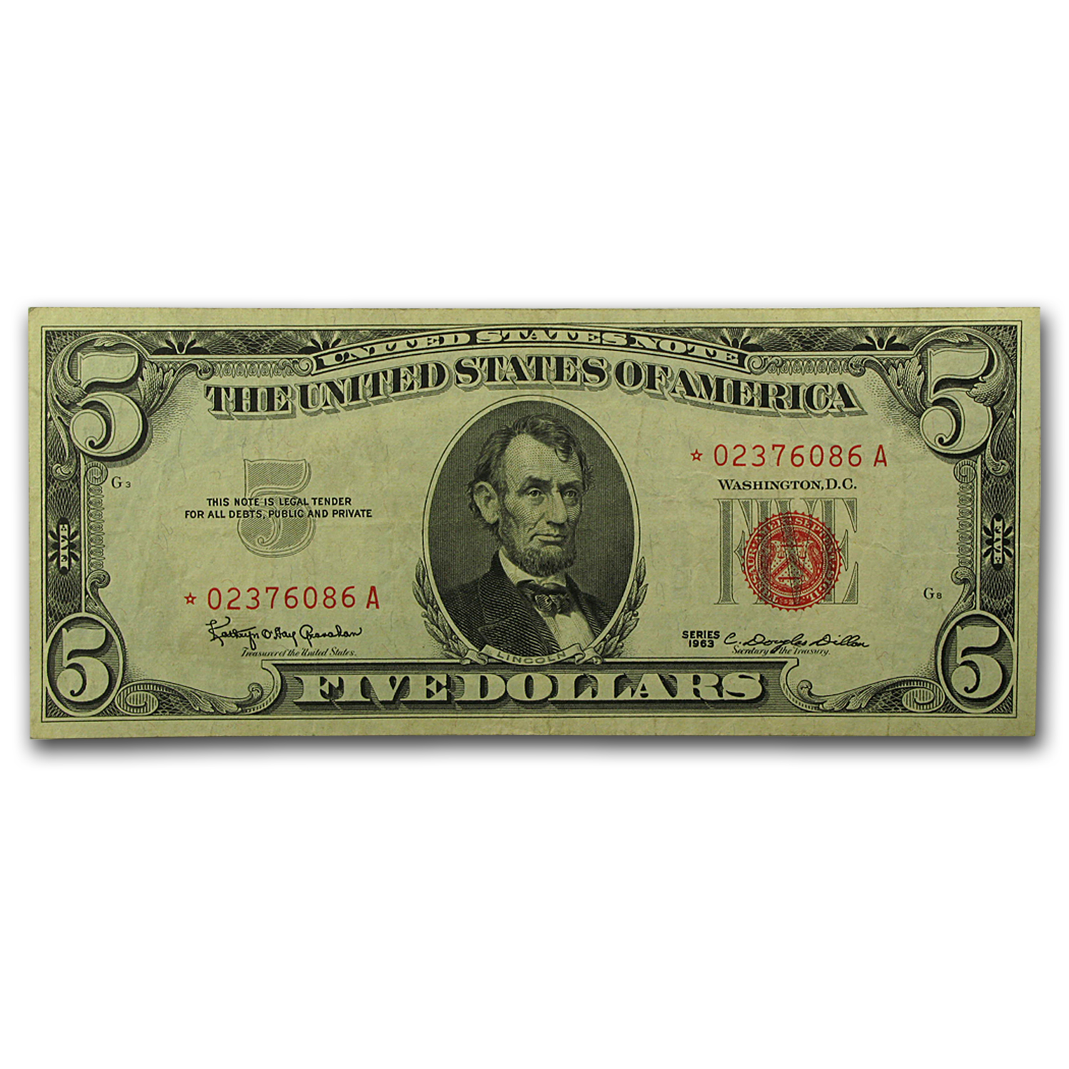 1963* $5.00 U.S. Note Red Seal XF (Star Note)