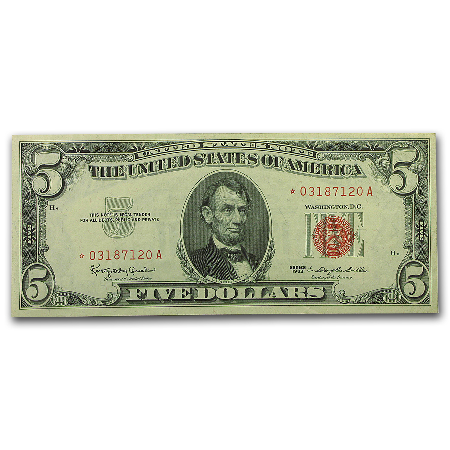 1963 5 00 U S Note Red Seal Cu Star Note 1963 5 U