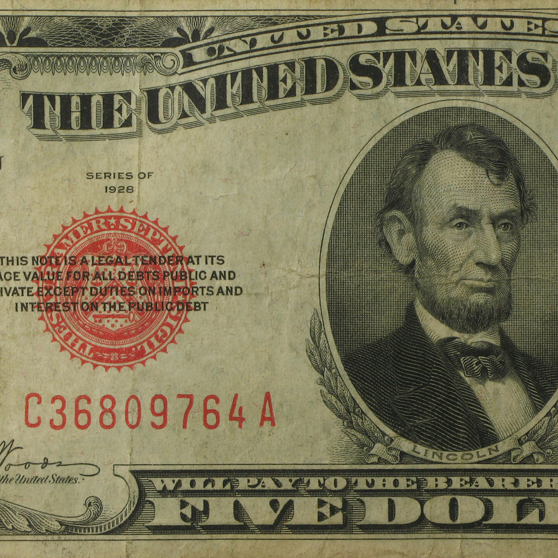 1928 5 00 U S Note Red Seal Fine 1928 5 U S Notes