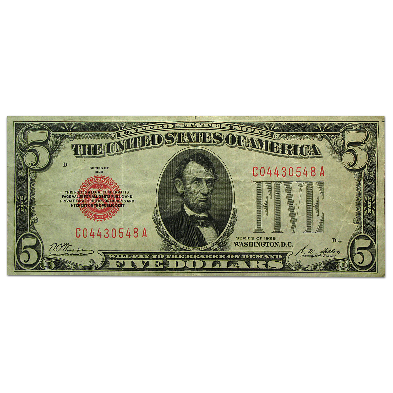 1928 $5.00 U.S. Note Red Seal VF