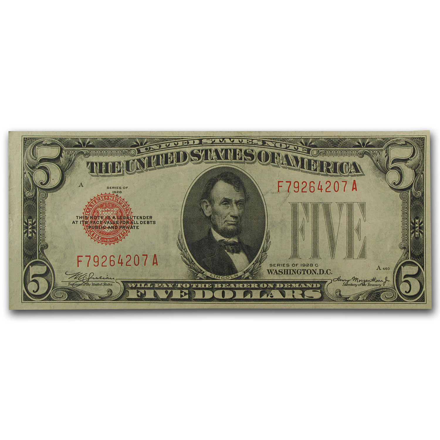 1928's $5.00 U.S. Note Red Seal XF