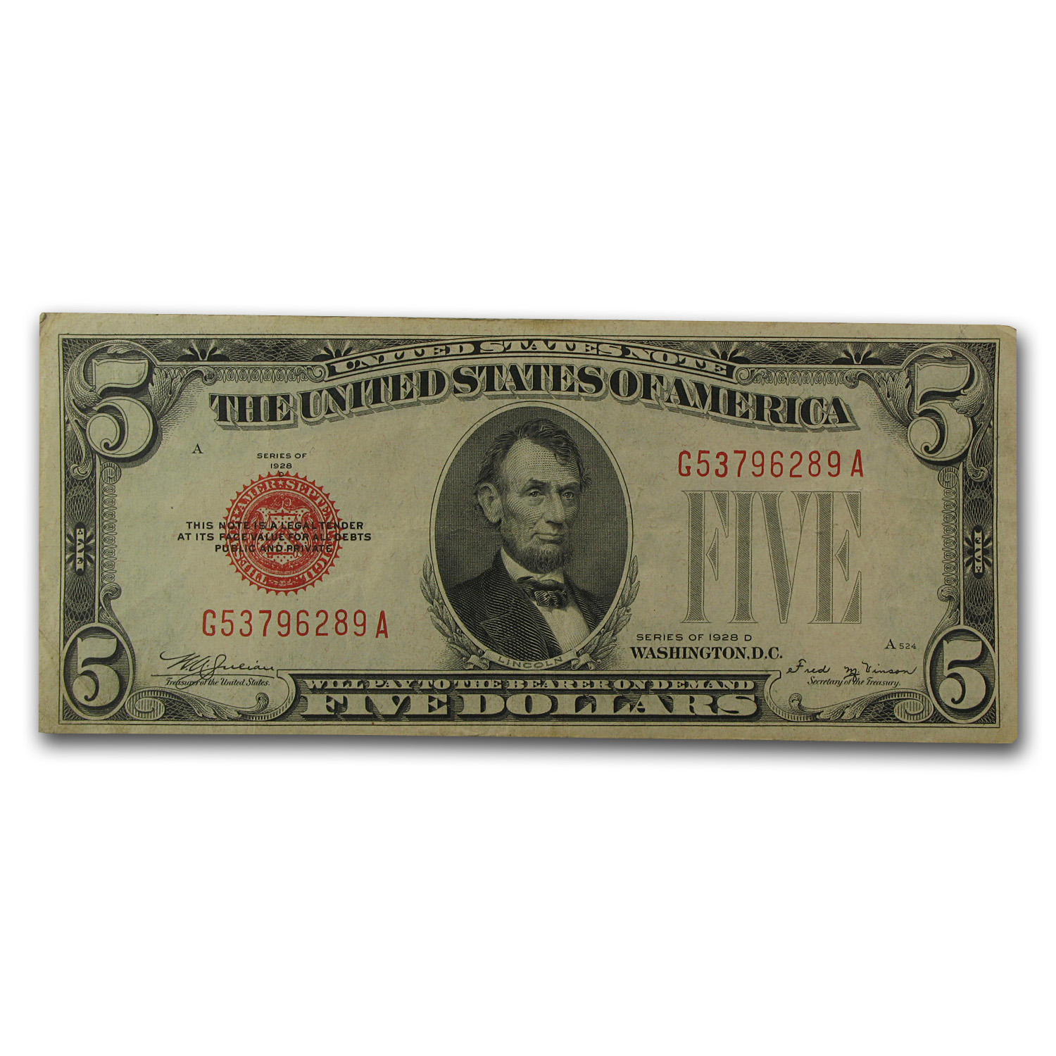 1928-D $5.00 U.S. Note Red Seal VF