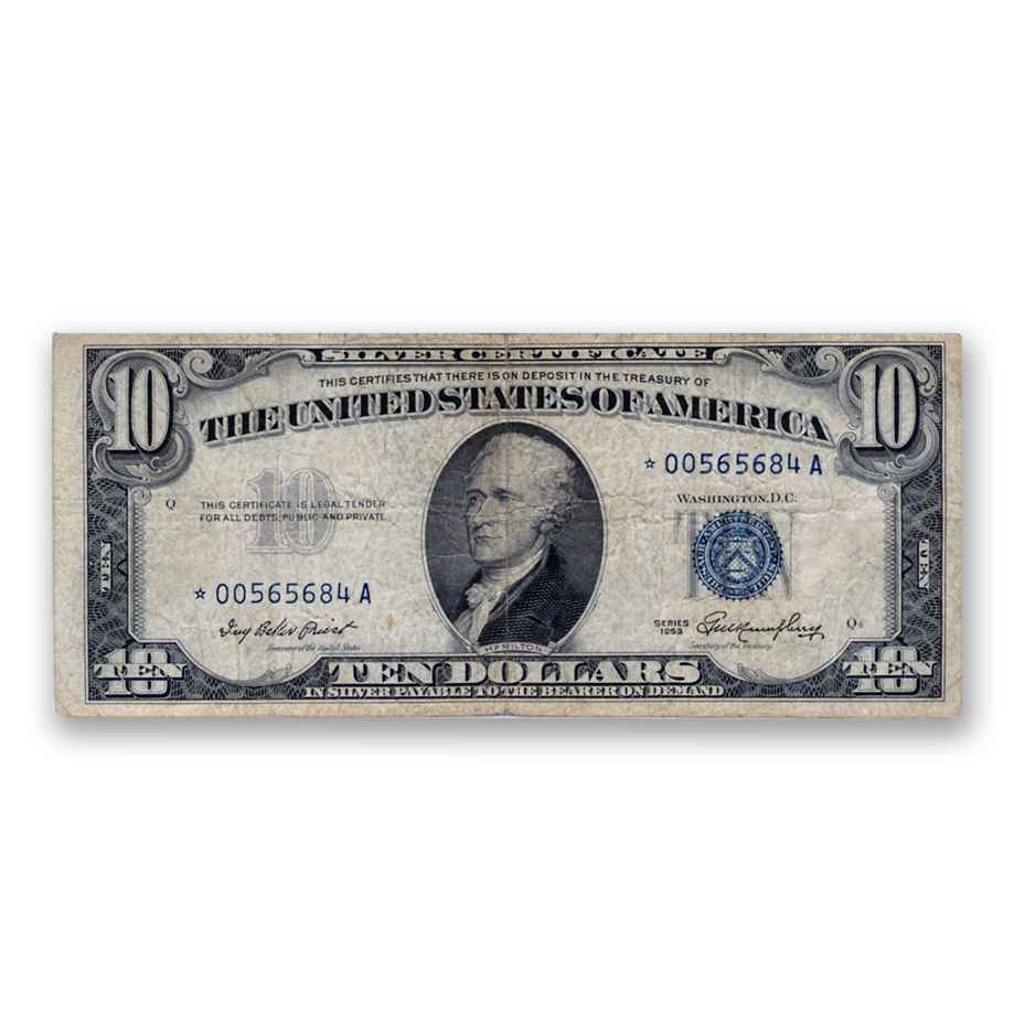 1953* $10 Silver Certificate STAR NOTE Very Good