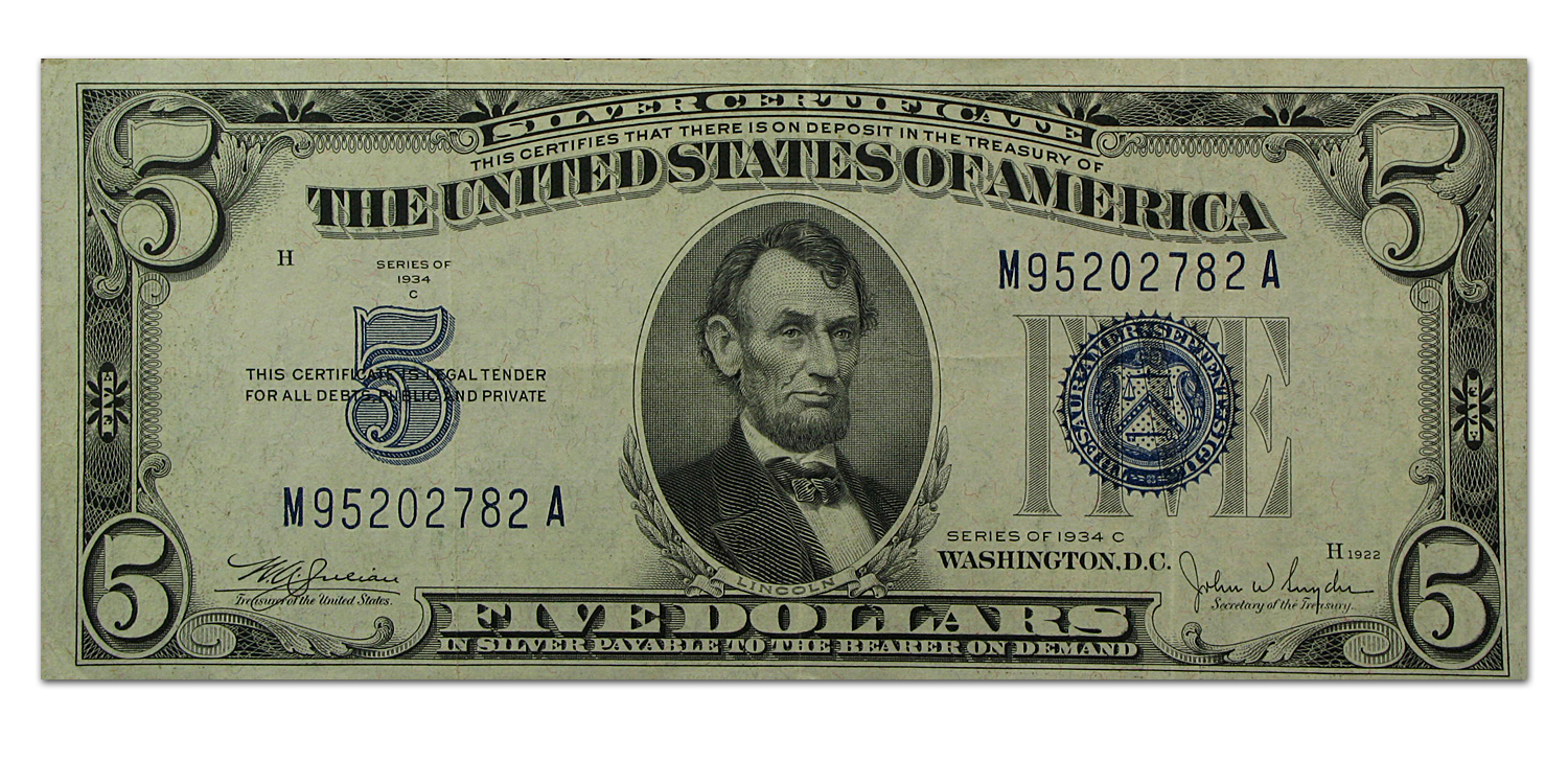 1934 C D 5 00 Silver Certificate Xf Silver Prices