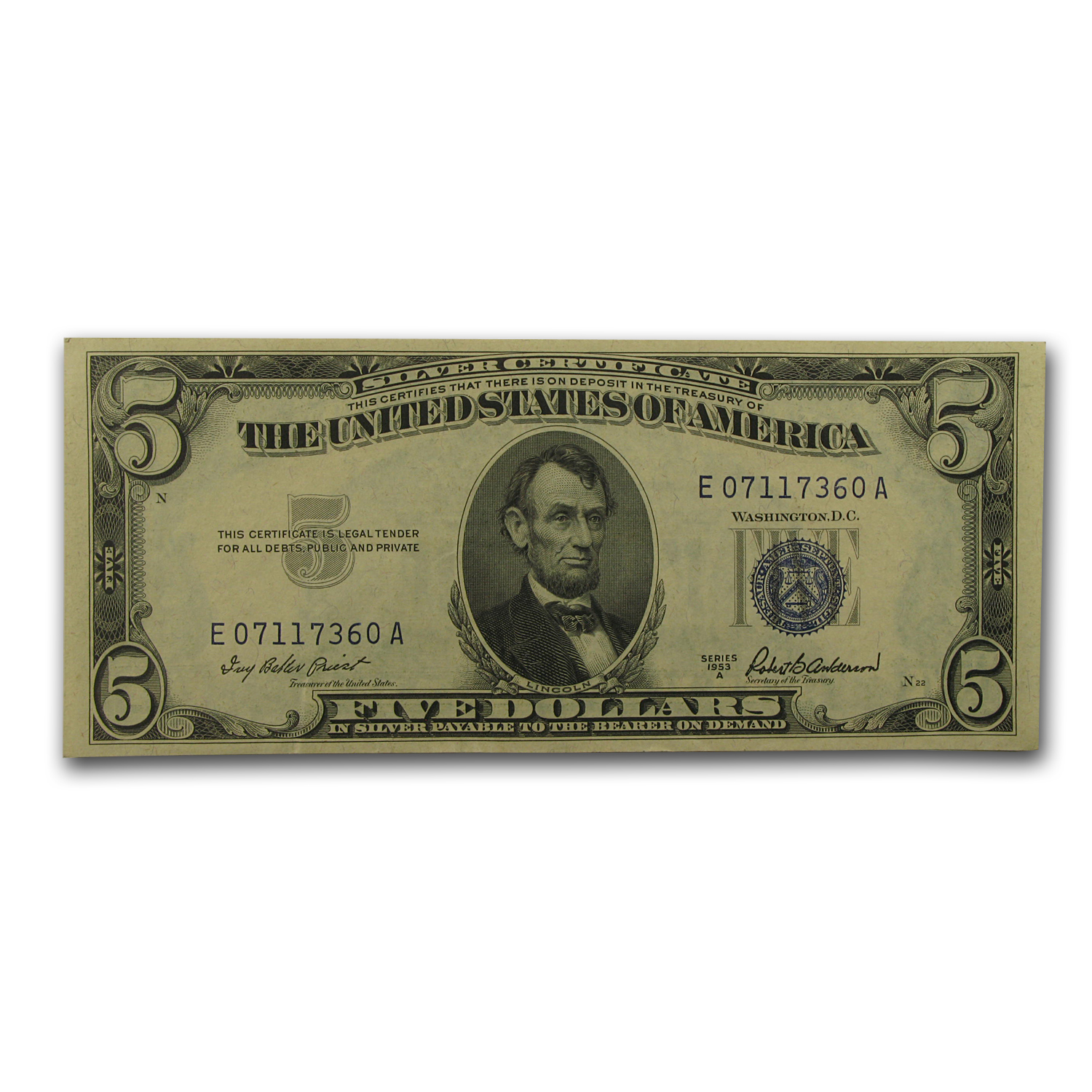 1953's $5 Silver Certificate (Extra Fine)