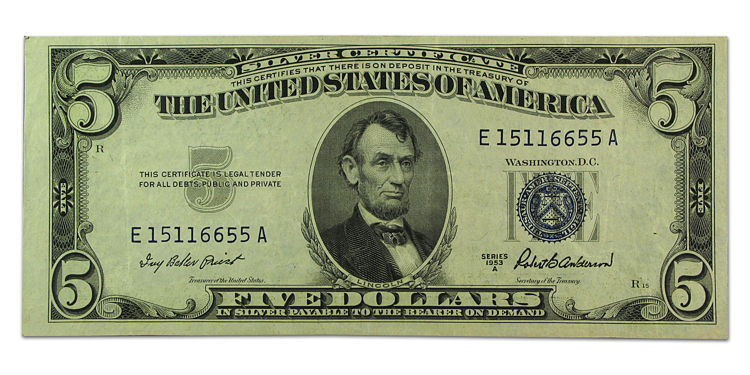 1953's $5.00 Silver Certificate (Almost Uncirculated)