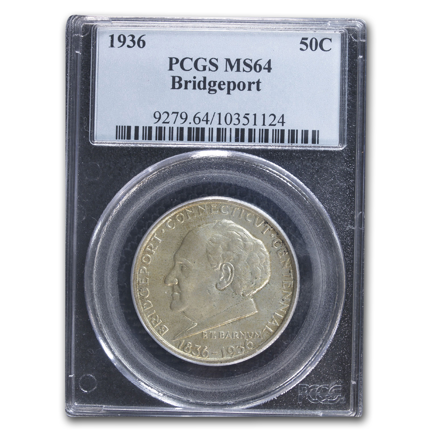 1936 Bridgeport Centennial Half MS-64 PCGS