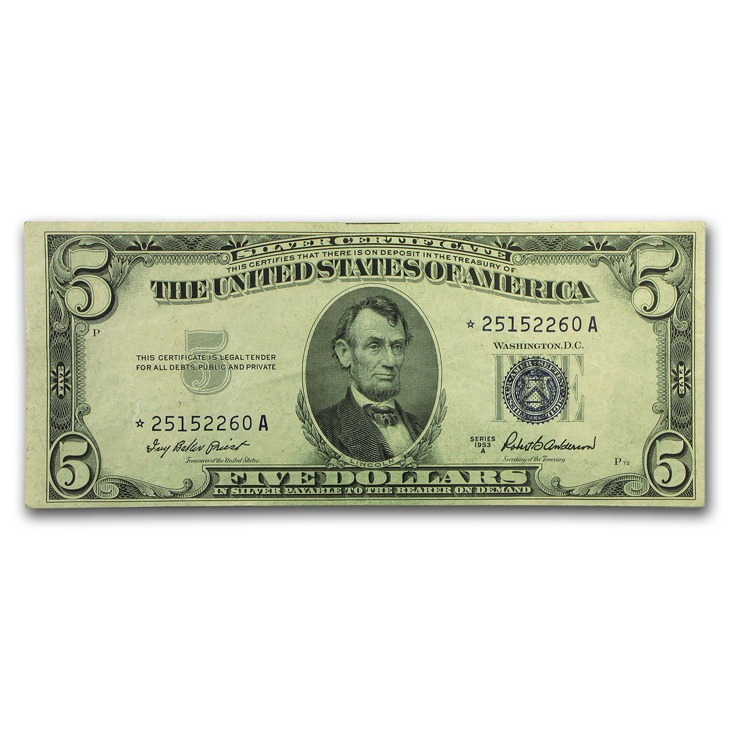1953-A* $5.00 Silver Certificate XF (Star Note)