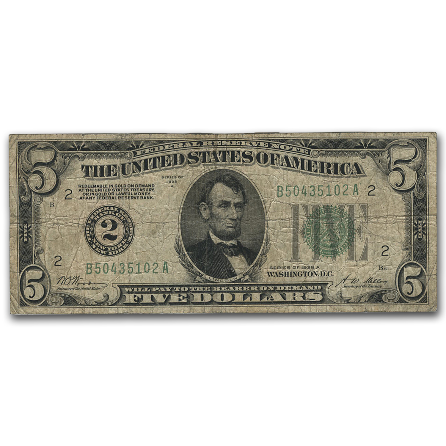 1928-A $5.00 FRN VG (Random District)