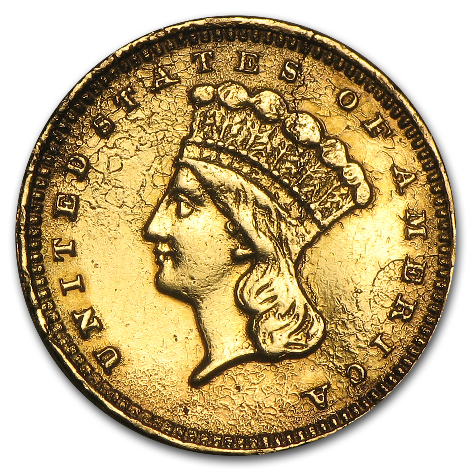 $1 Indian Head Gold - Type 3 - Heavily Damaged
