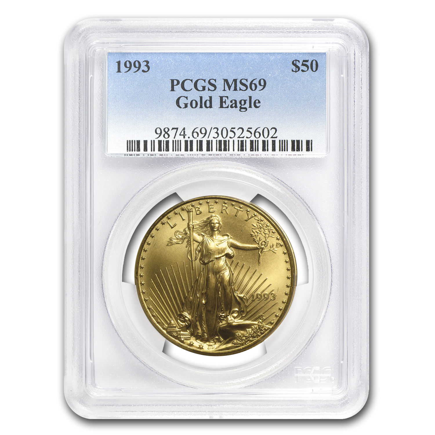 1993 1 oz Gold American Eagle MS-69 PCGS