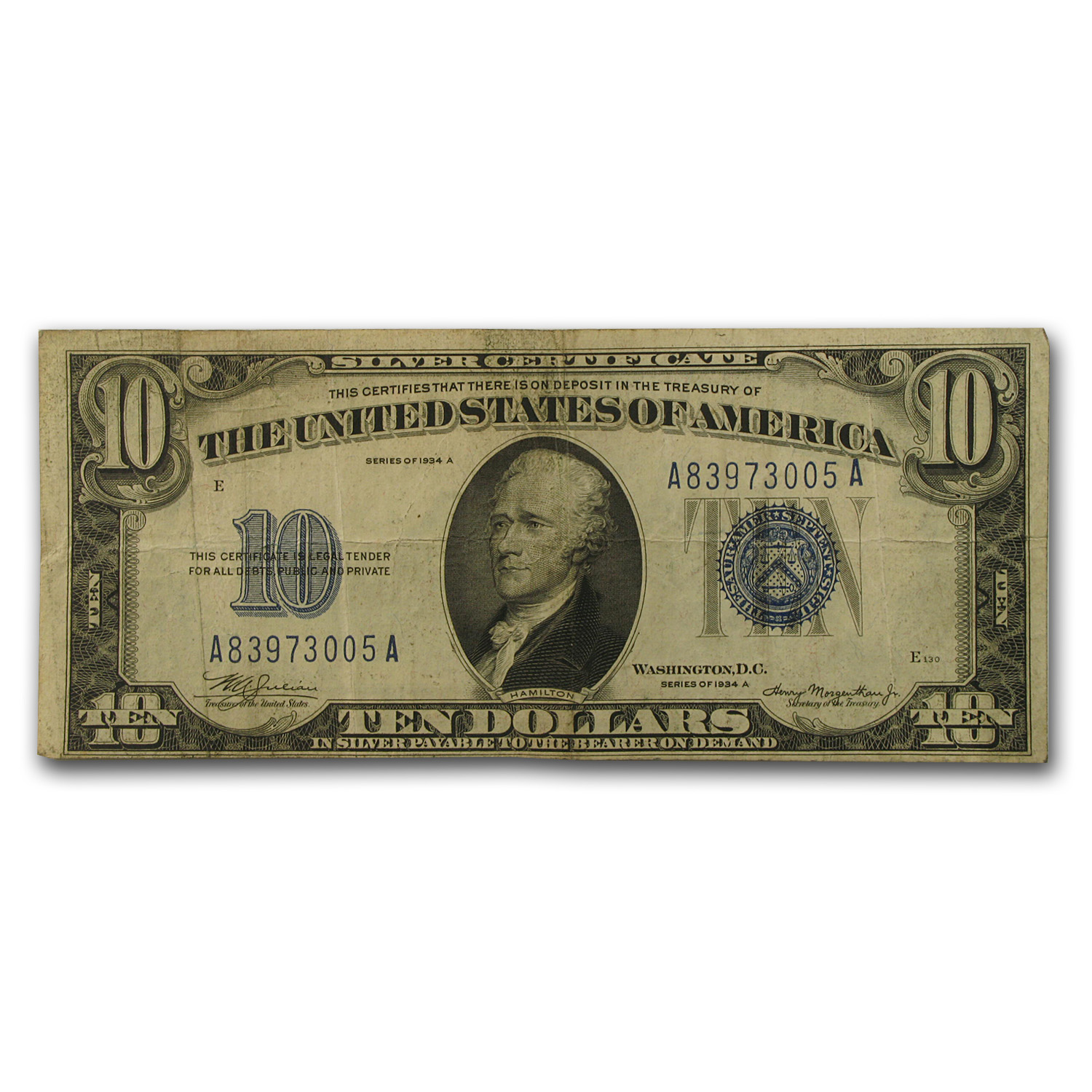 1934/1934-D $10 Silver Certificate Fine (Random District)