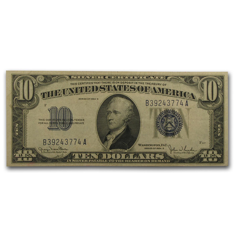 1934 D 10 Silver Certificate Xf 1934 10 Silver