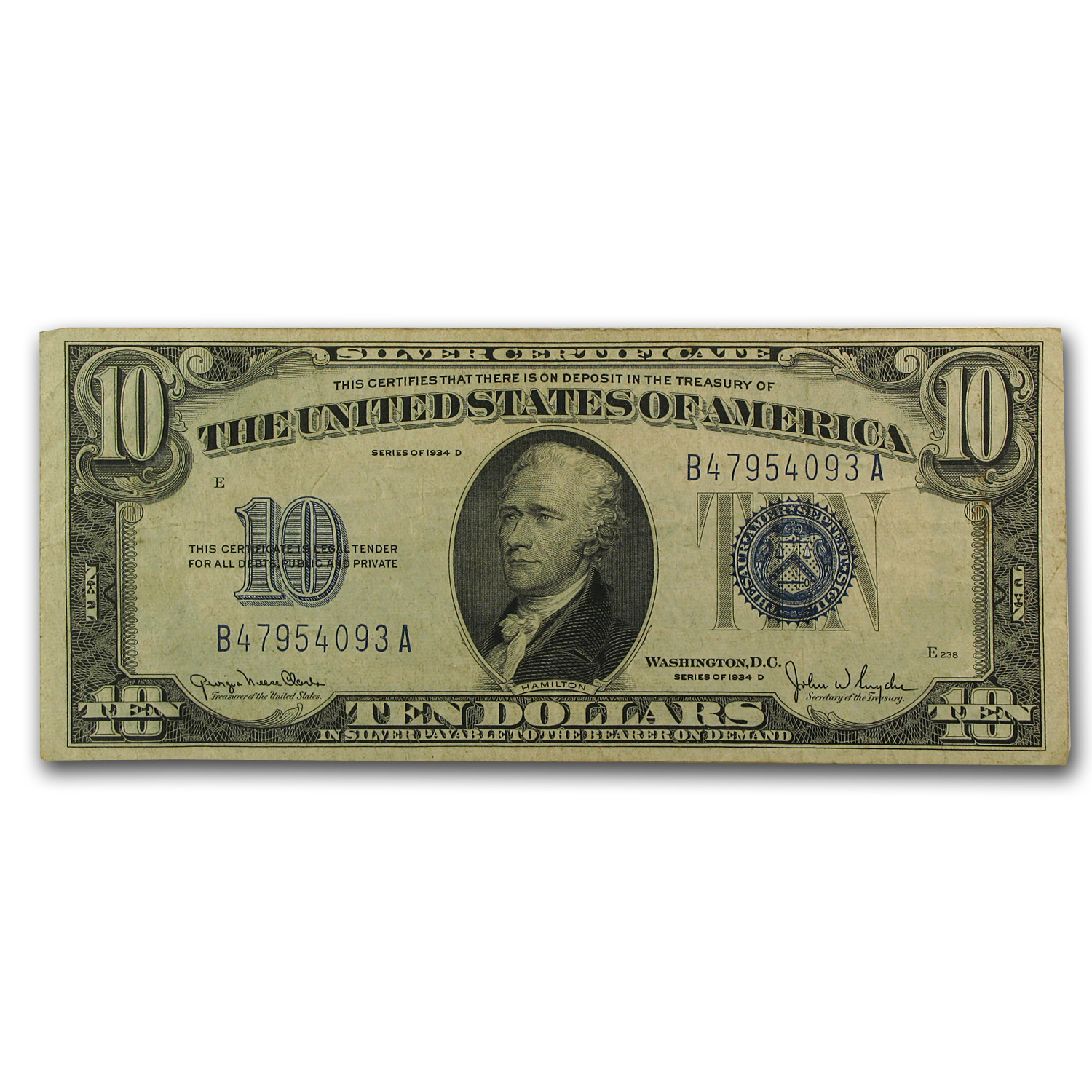 1934-D $10 Silver Certificate VF (Narrow)