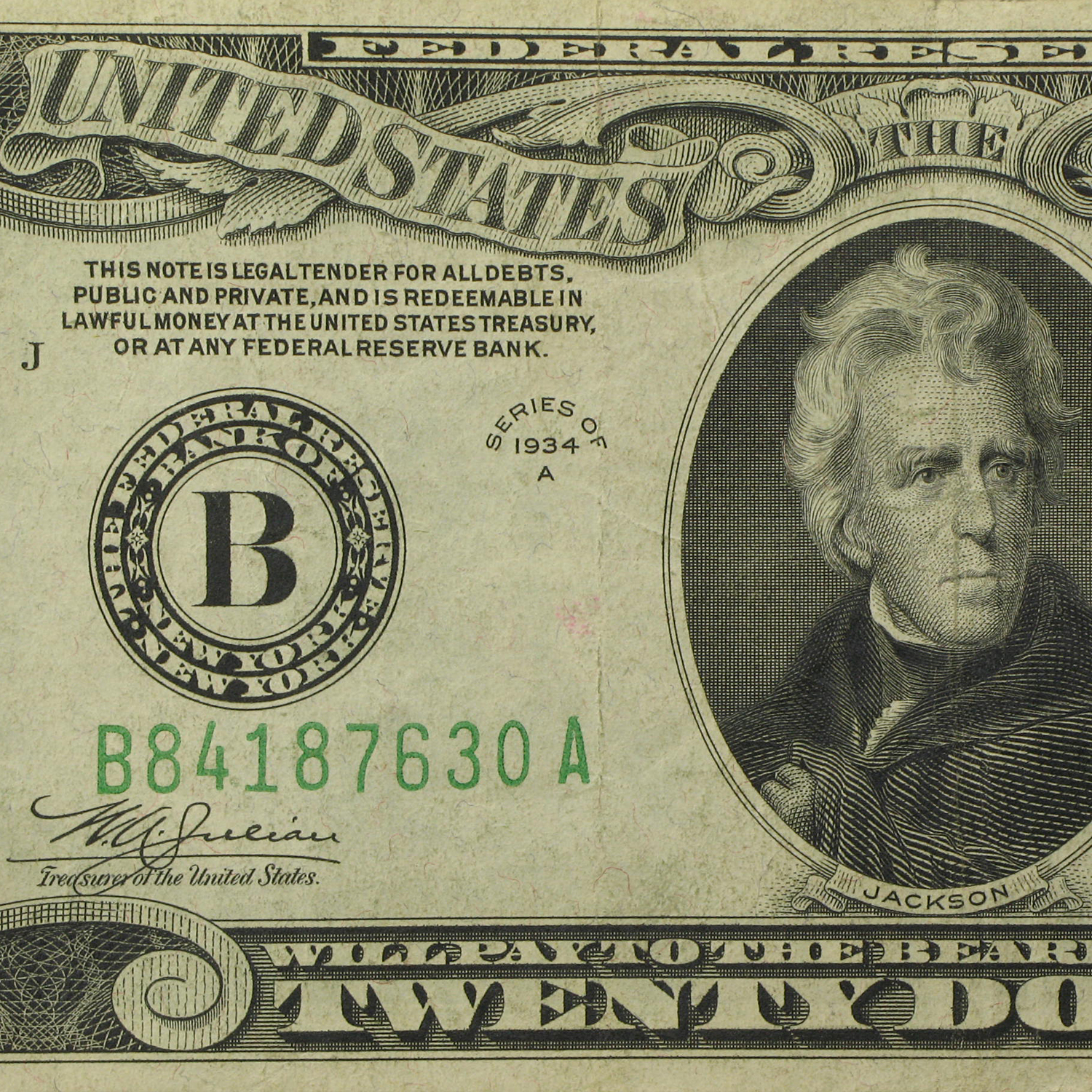 1934-A (B-New York) $20 FRN (Very Fine)