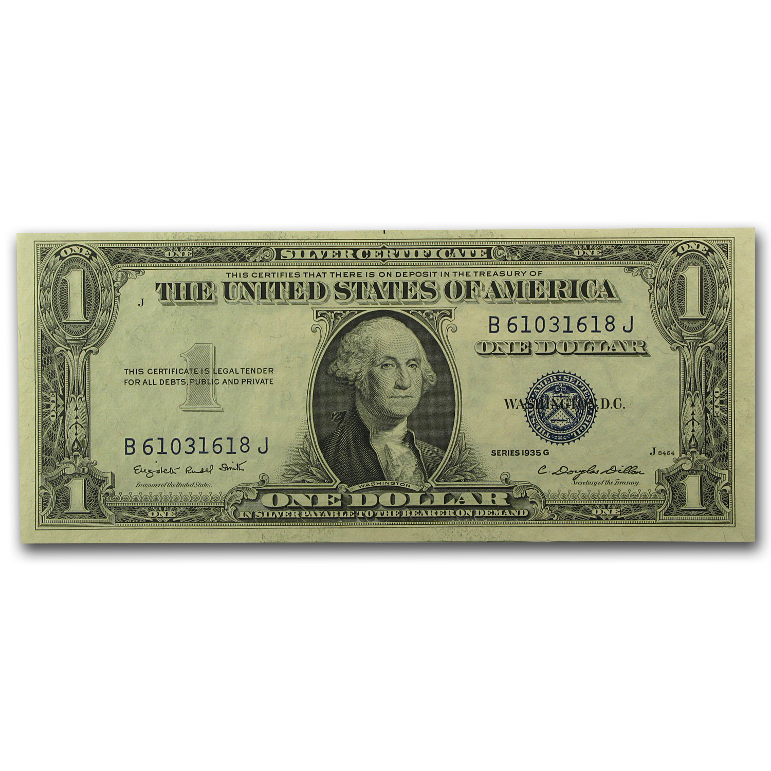 1935-G $1 Silver Certificate (No Motto) - Ch. Crisp Uncirculated