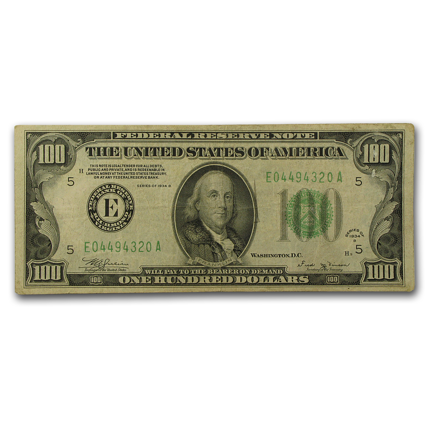 1934-B (E-Richmond) $100 FRN VF