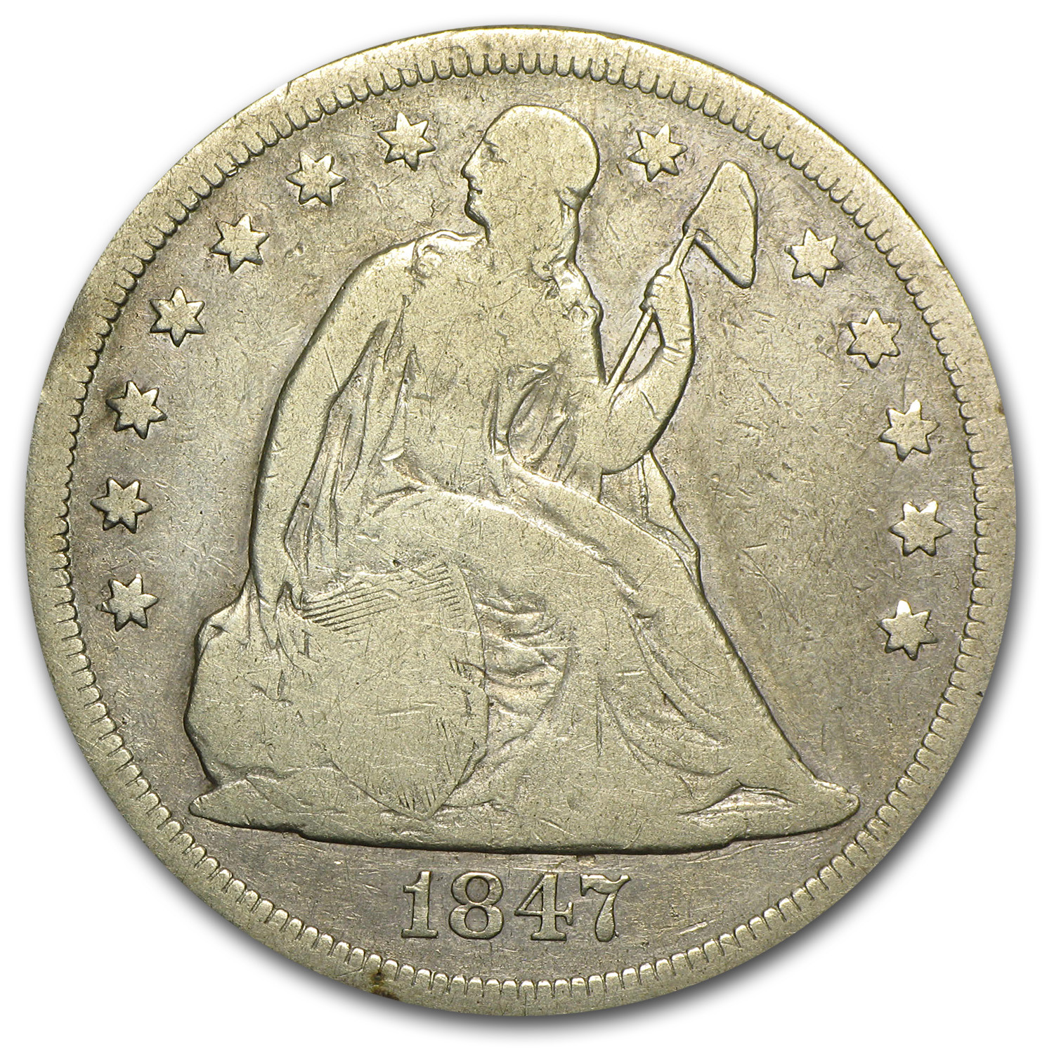 1847 Liberty Seated Dollar Fine