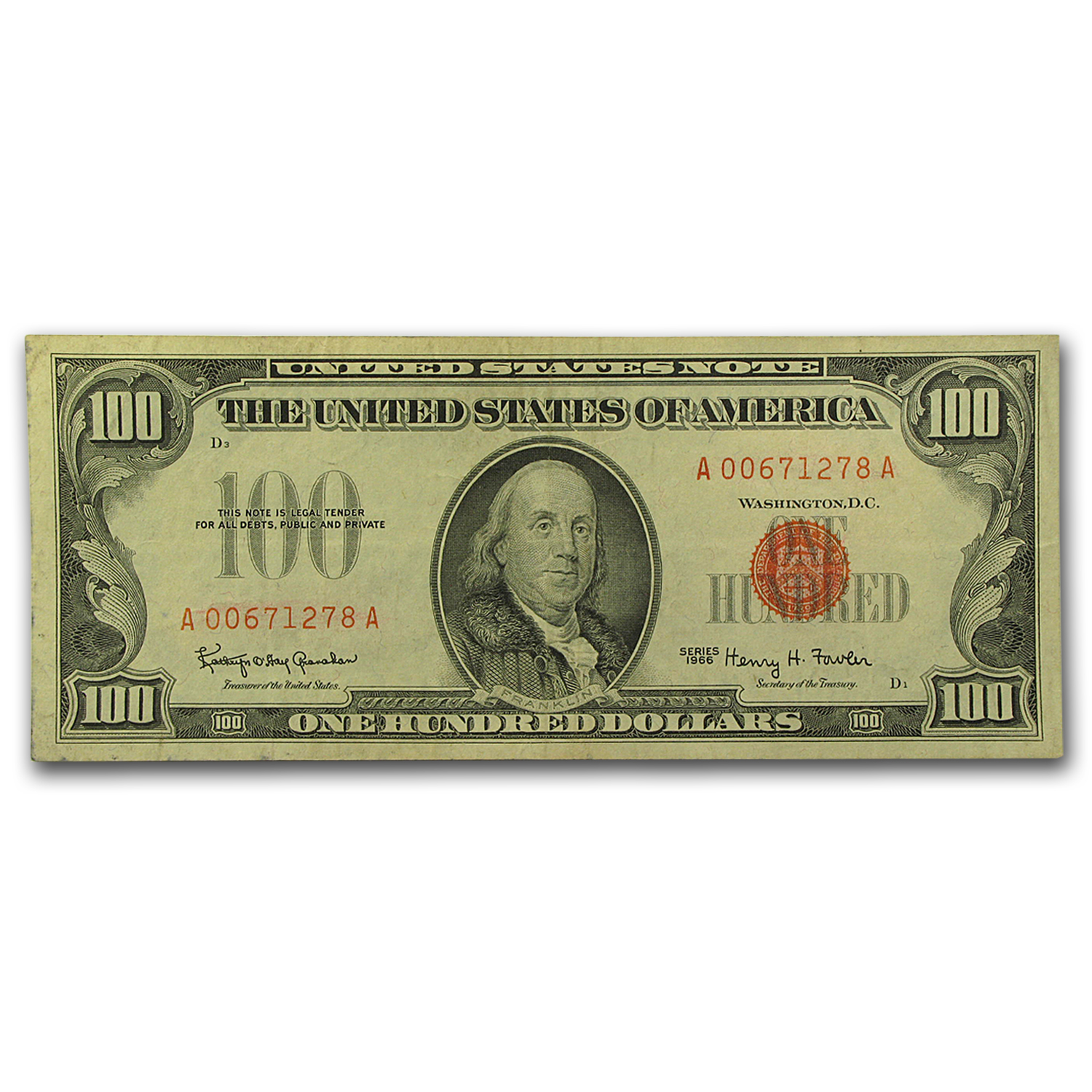 1966 $100 U. S. Note Red Seal VF