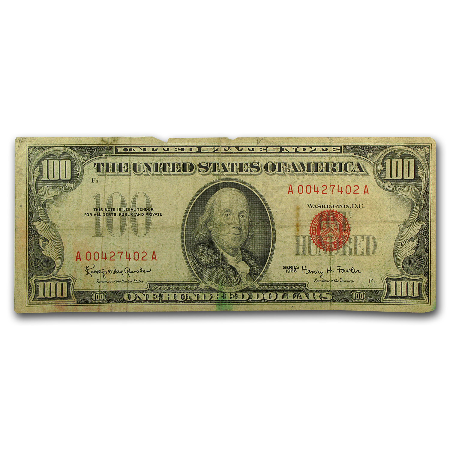 1966 $100 U. S. Note Red Seal VG/Fine