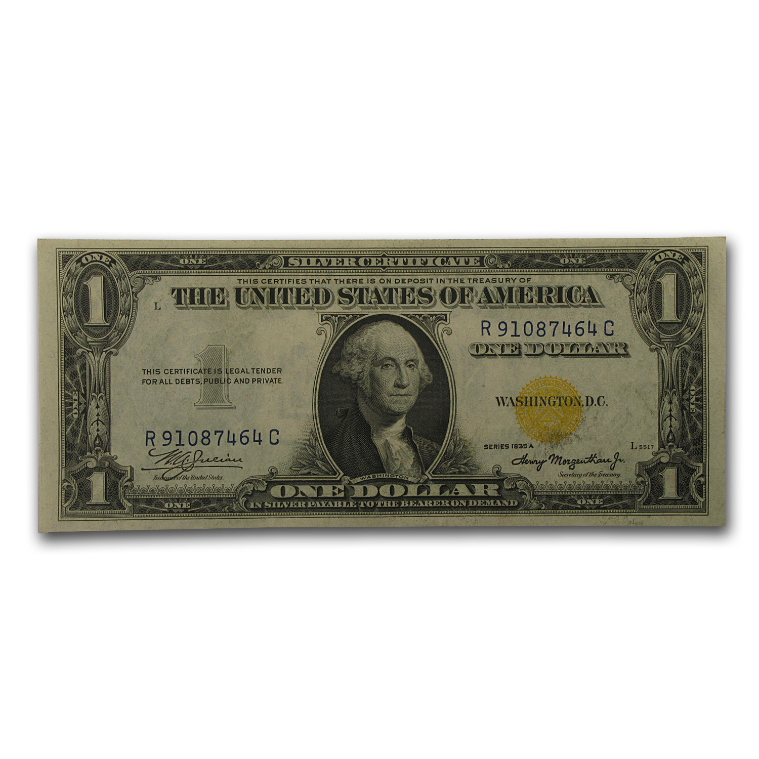 1935-A $1 Silver Certificate - Yellow Seal (North Africa) CU