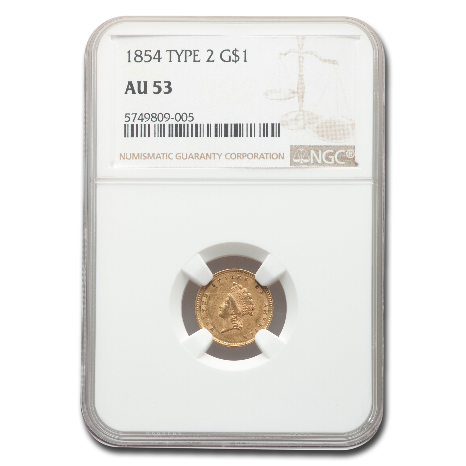 1854 $1 Indian Head Gold Type-2 AU-53 NGC