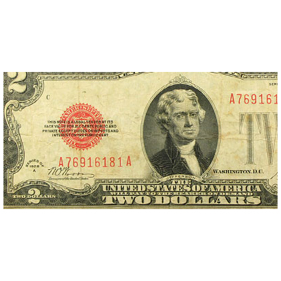 1928-A $2.00 U.S. Note Red Seal Fine