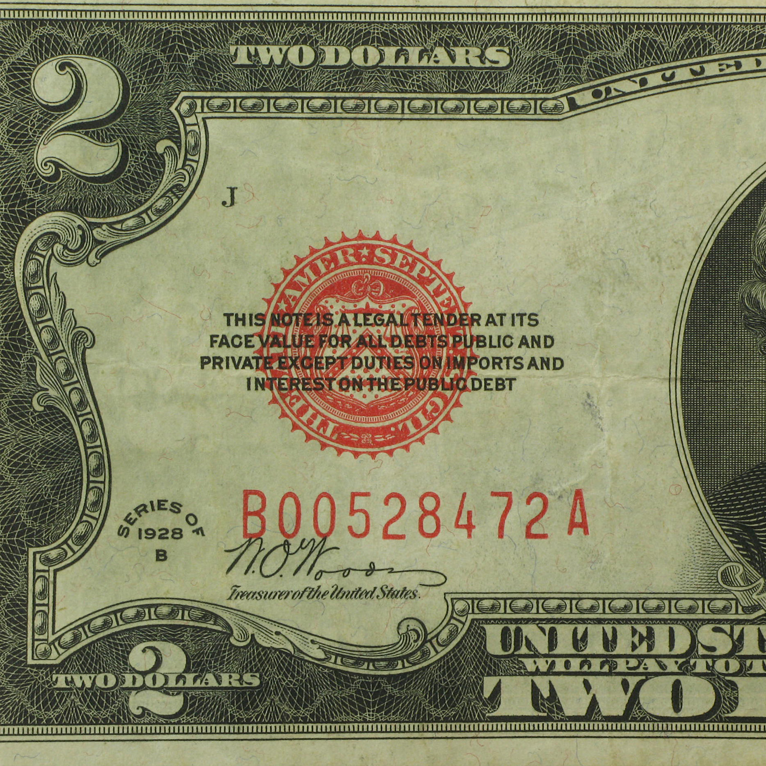 1928-B $2.00 U.S. Note Red Seal VF