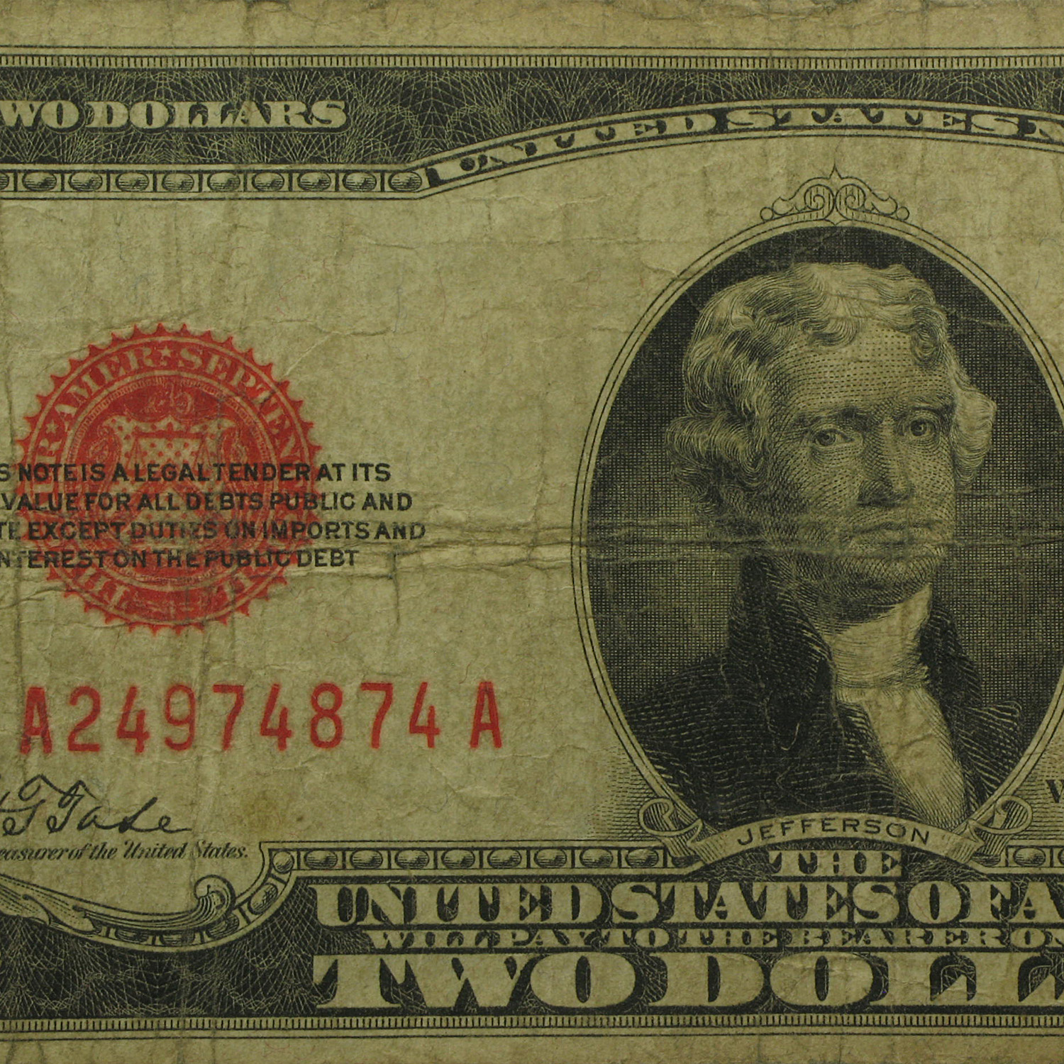 1928 $2.00 USN (Red Seal) (Very Good)