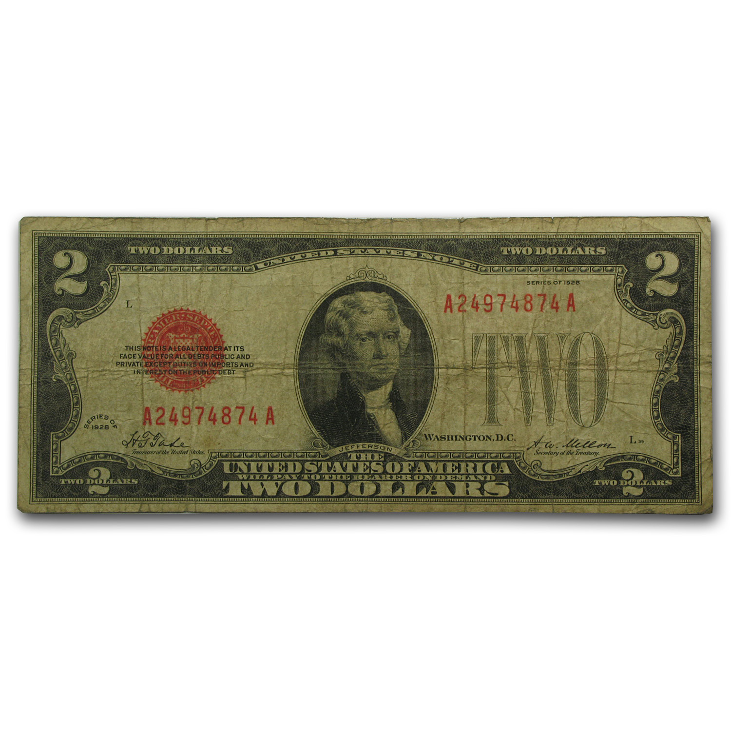 1928 $2.00 U.S. Note Red Seal VG
