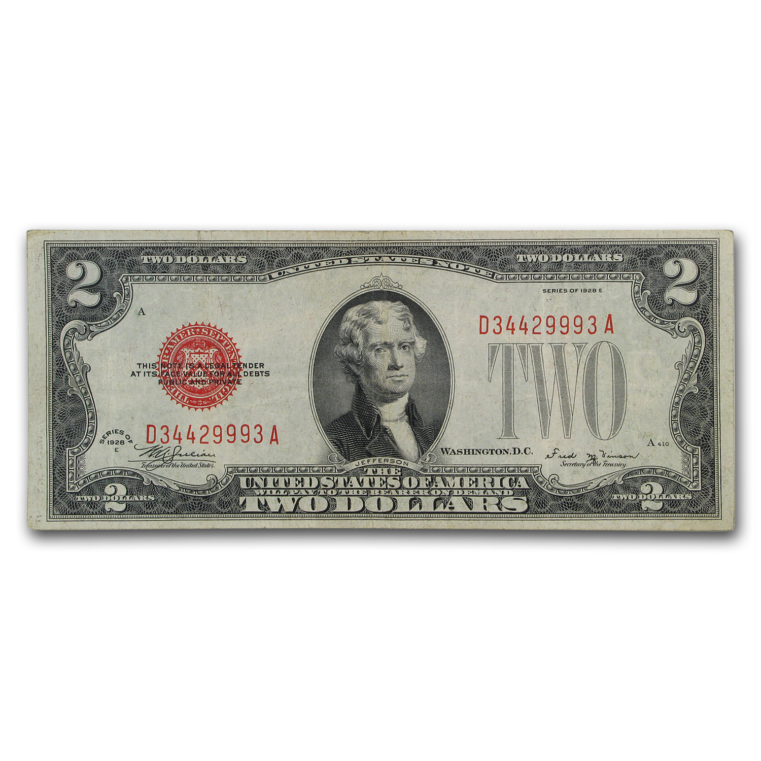 1928-E $2.00 U.S. Note Red Seal VF