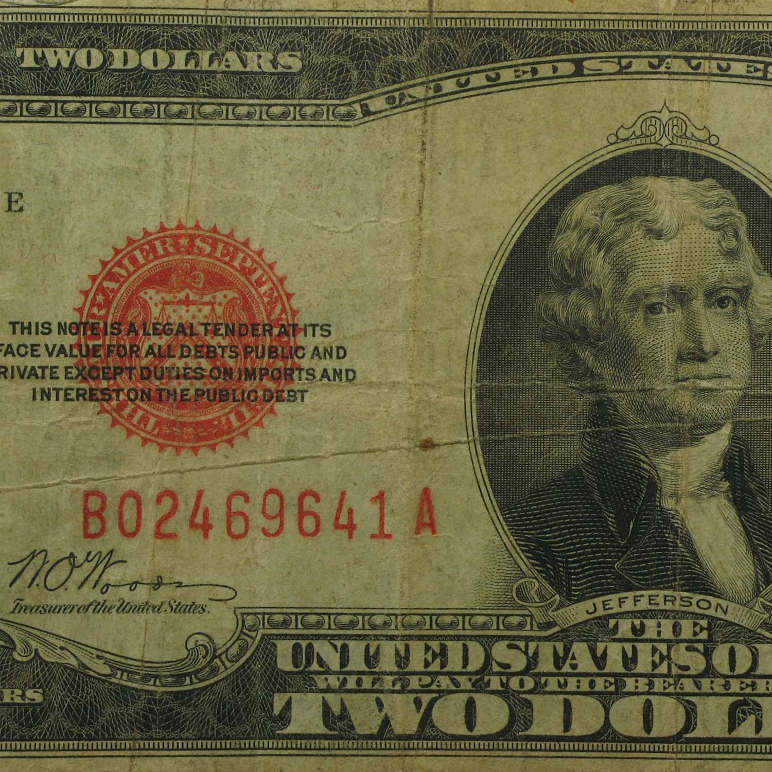 1928-B $2.00 U.S. Note Red Seal VG