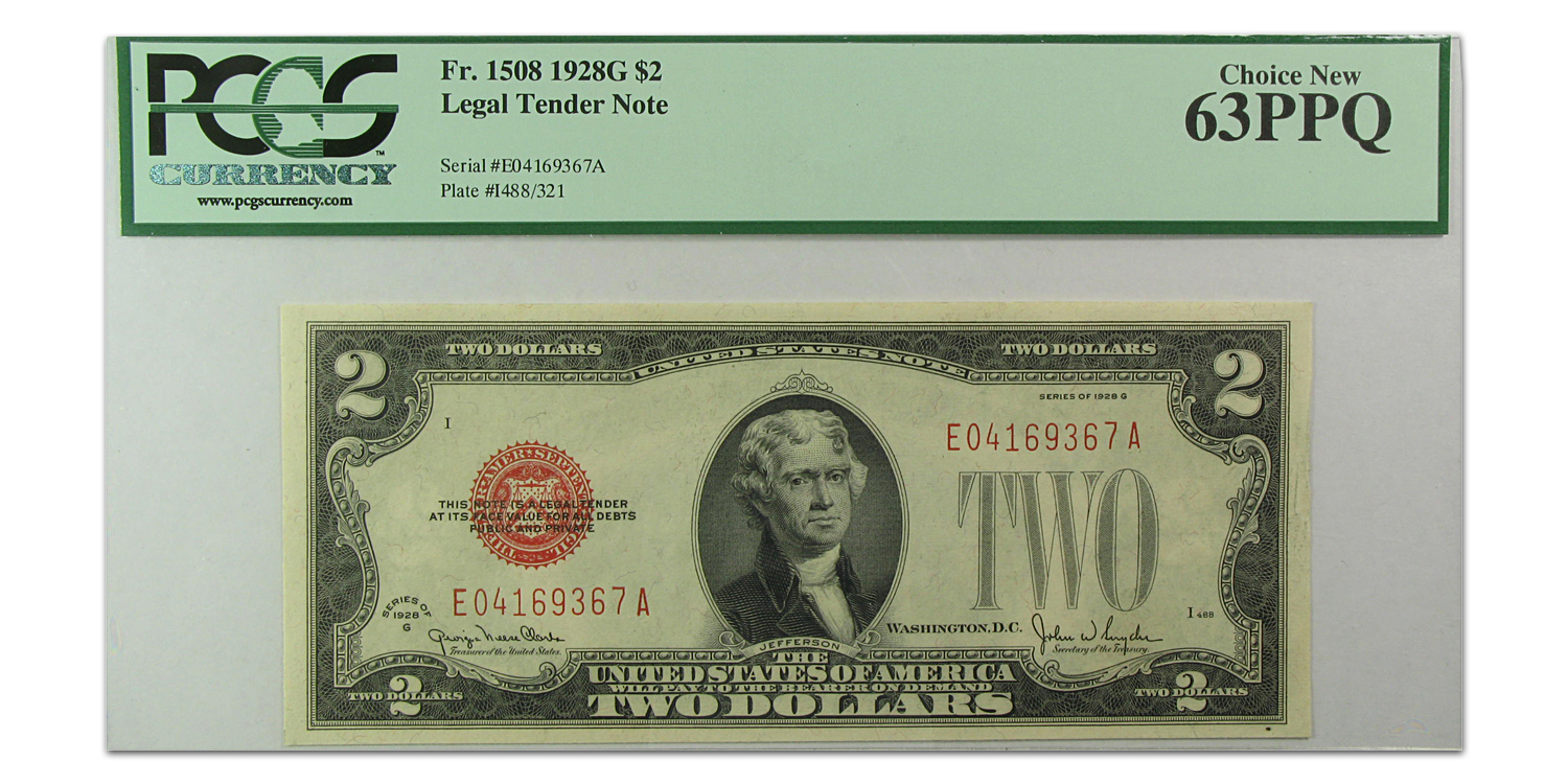 1928-G $2.00 U.S. Note Choice New-63 PPQ PCGS
