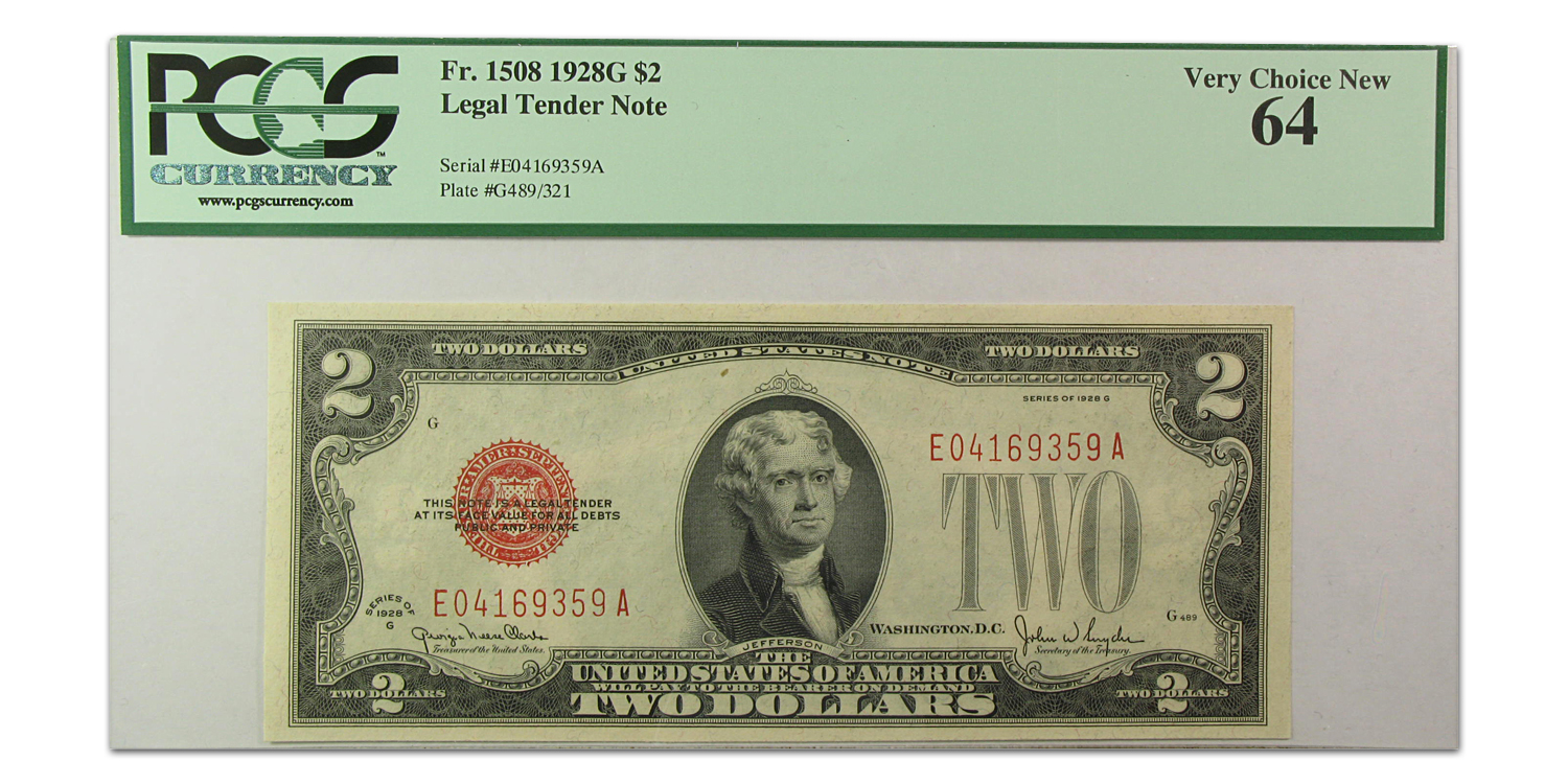 1928-G $2.00 U.S. Note Very Choice New-64 PCGS