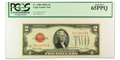 1928-G $2.00 U.S. Note Gem New-65 PPQ PCGS