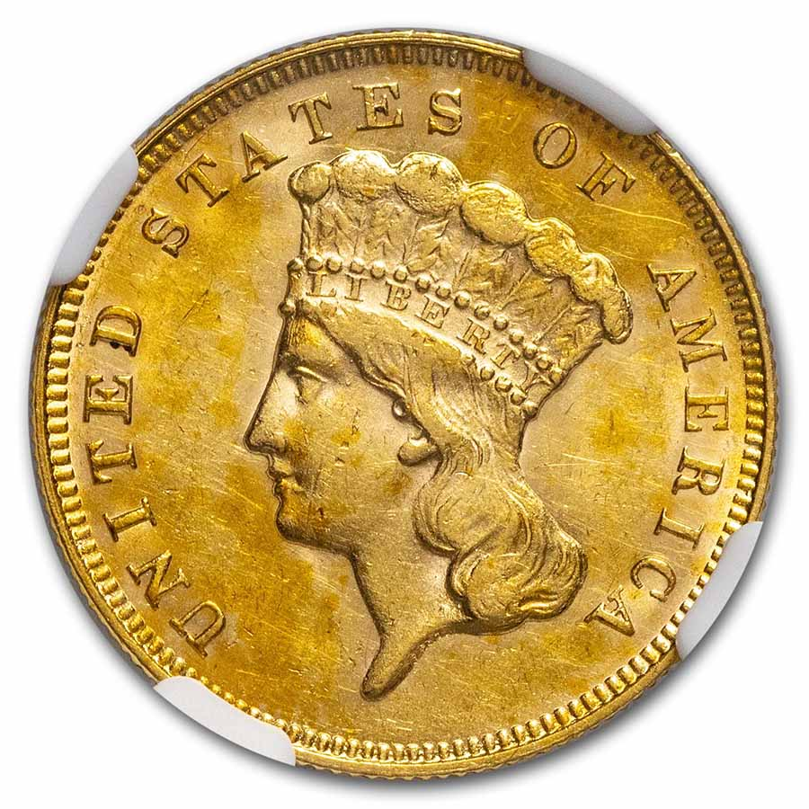 1878 $3 Gold Princess AU-58 NGC