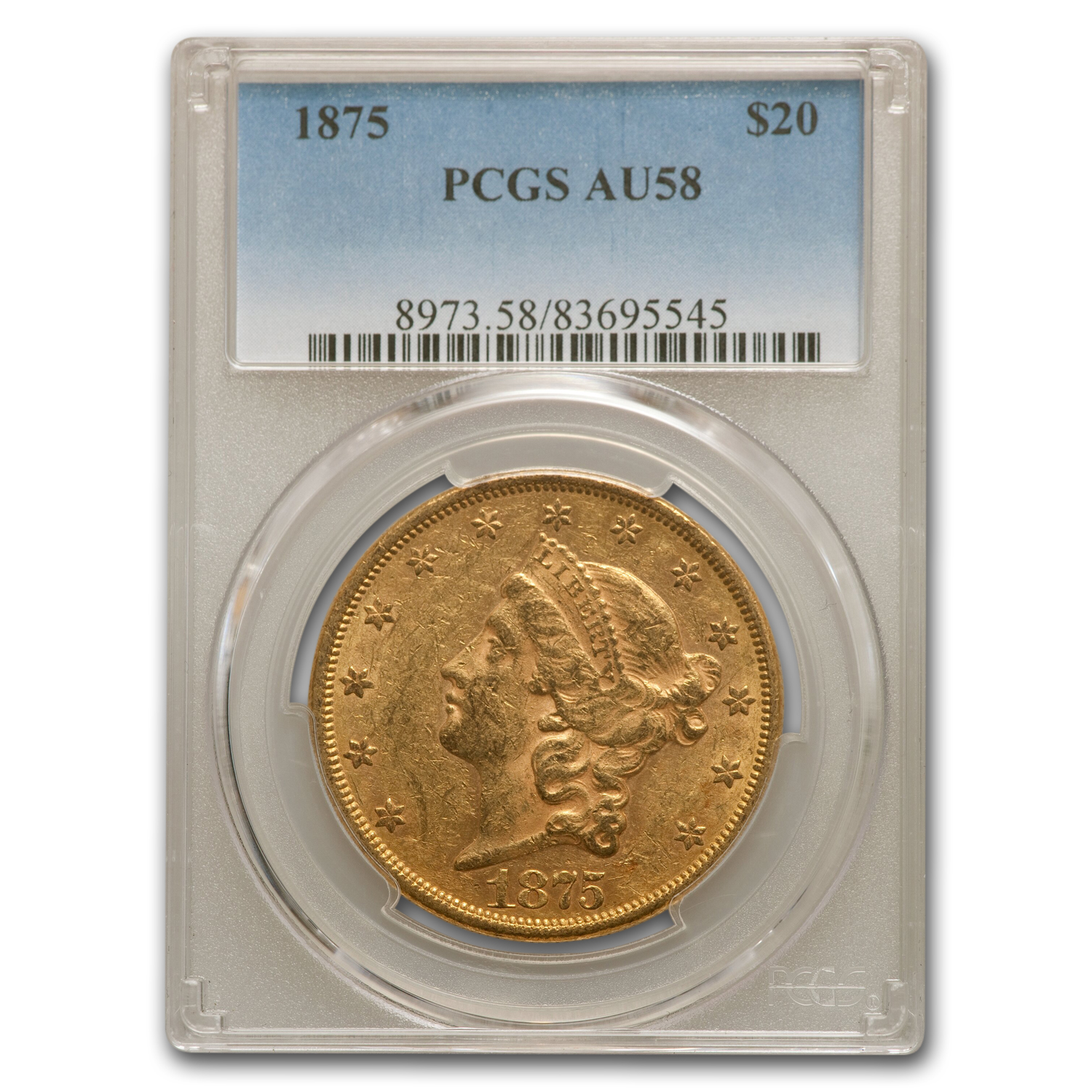 1875 $20 Liberty Gold Double Eagle AU-58 PCGS