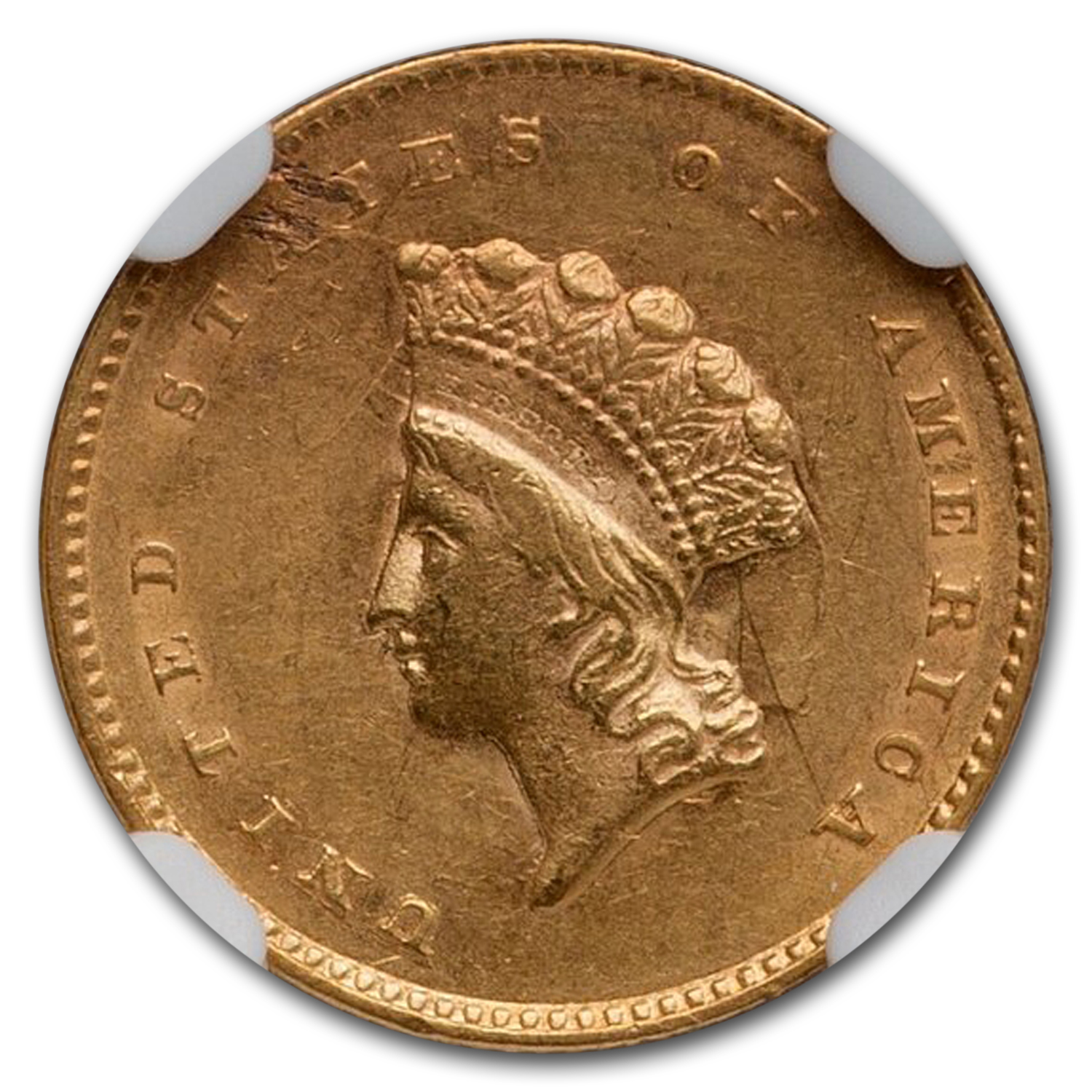 1855 $1 Indian Head Gold - AU-58 NGC