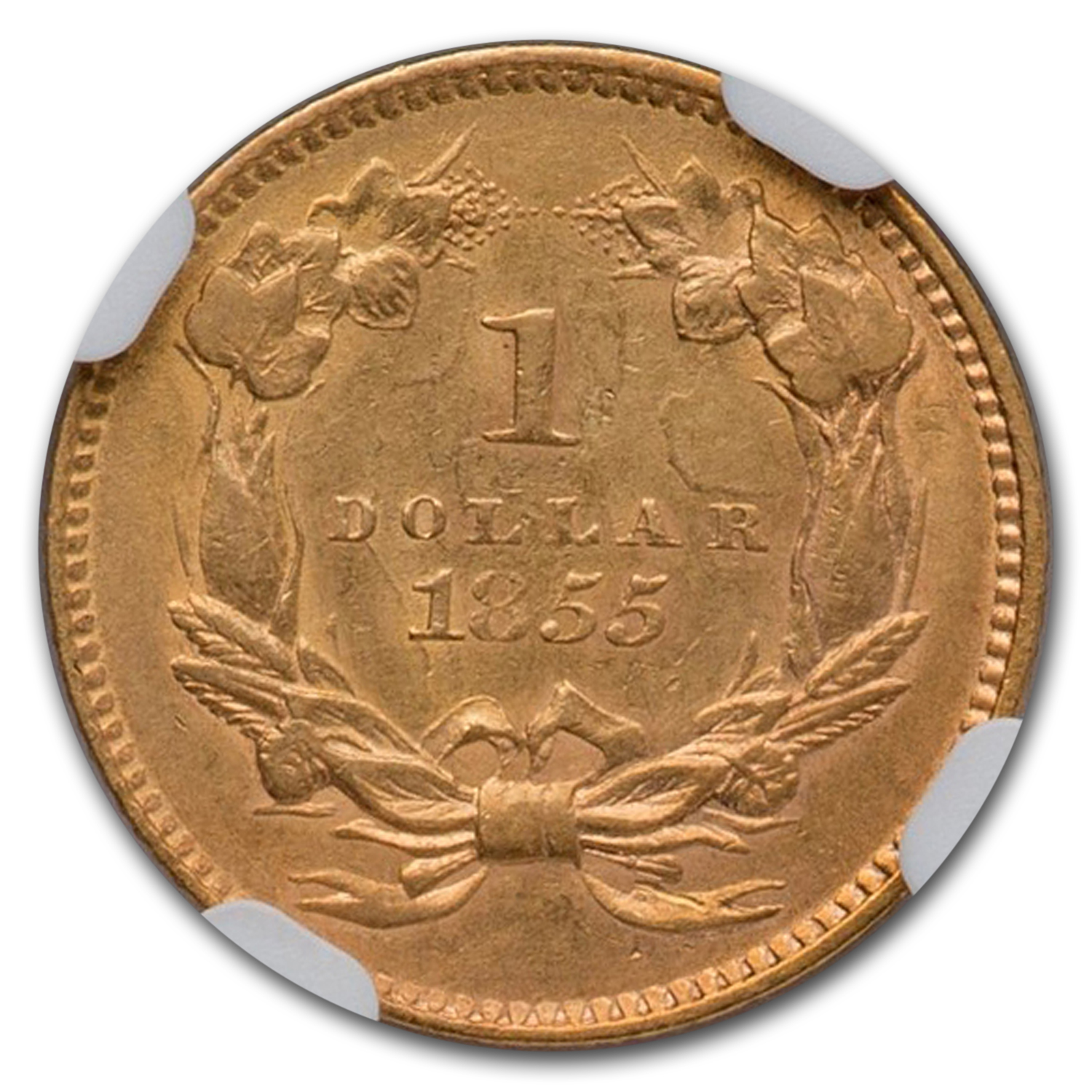 1855 $1 Indian Head Gold AU-58 NGC