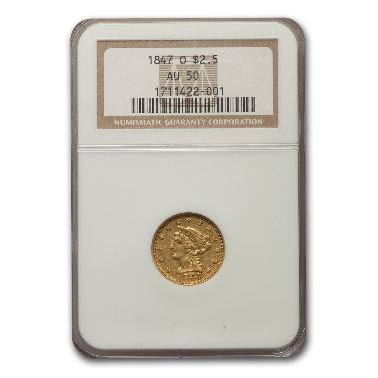 1847-O $2.50 Liberty Gold Quarter Eagle AU-50 NGC