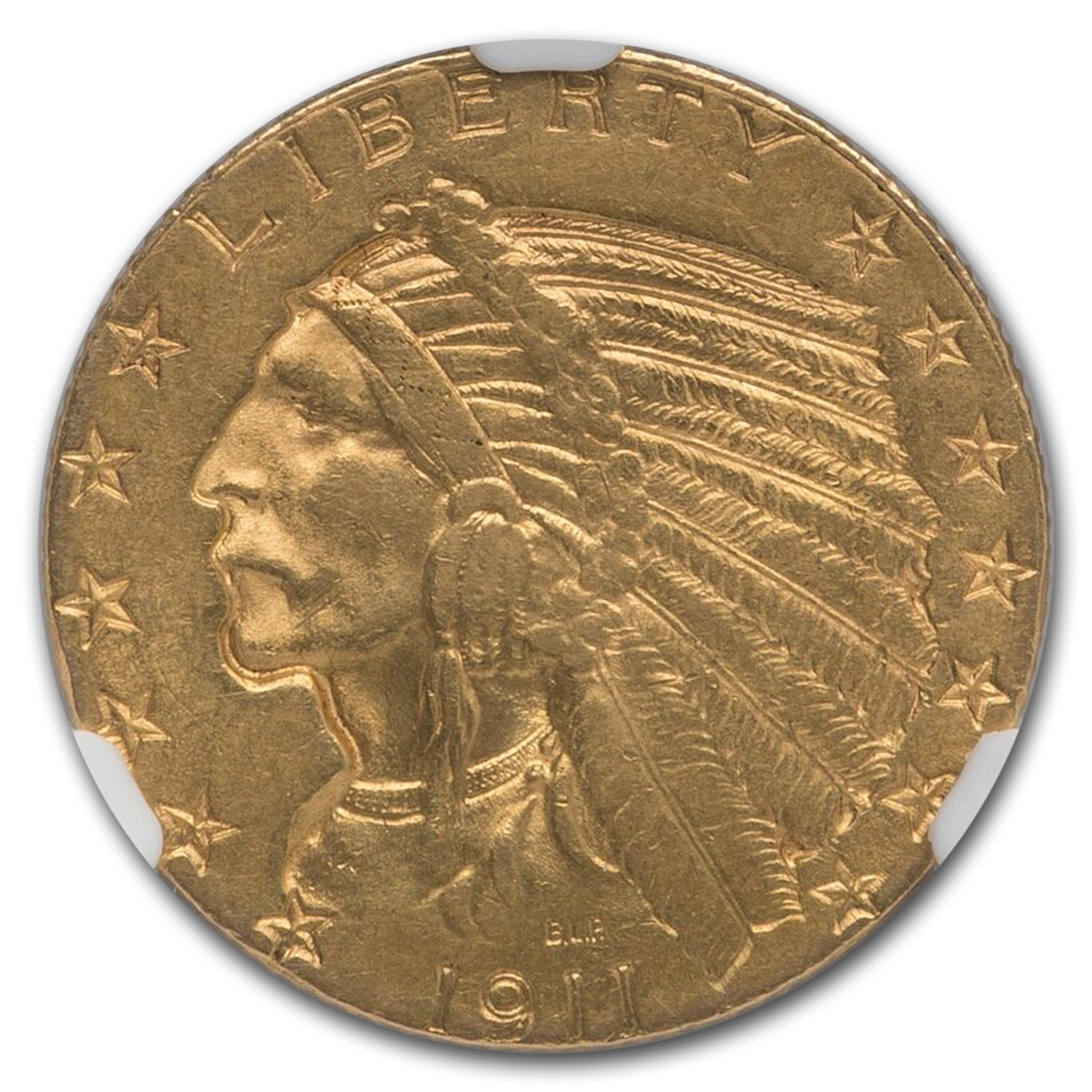 1911-S $5 Indian Gold Half Eagle - AU-55 NGC