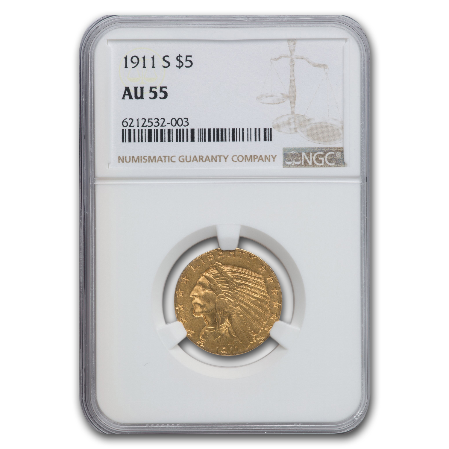 1911-S $5 Indian Gold Half Eagle AU-55 NGC