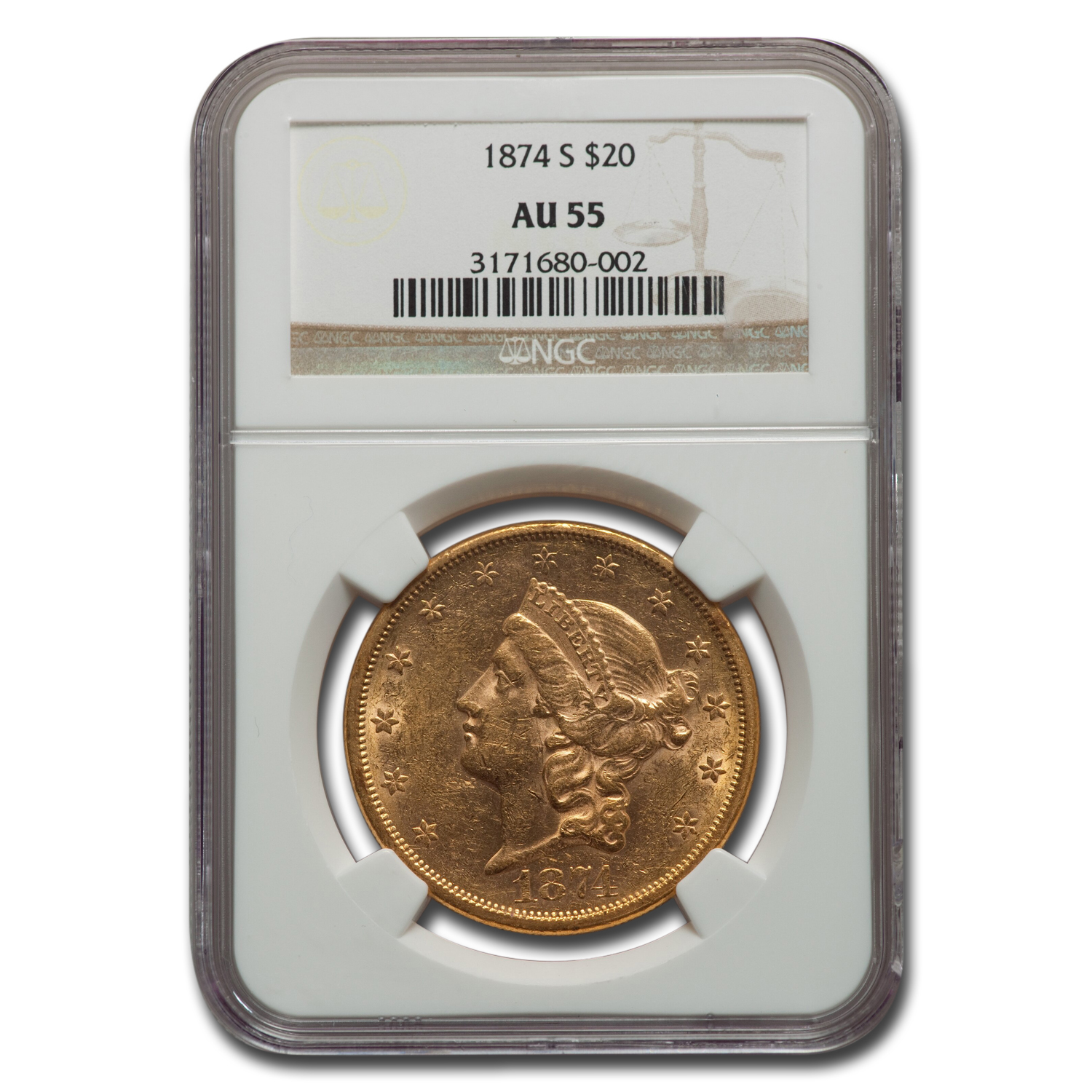 1874-S $20 Liberty Gold Double Eagle AU-55 NGC