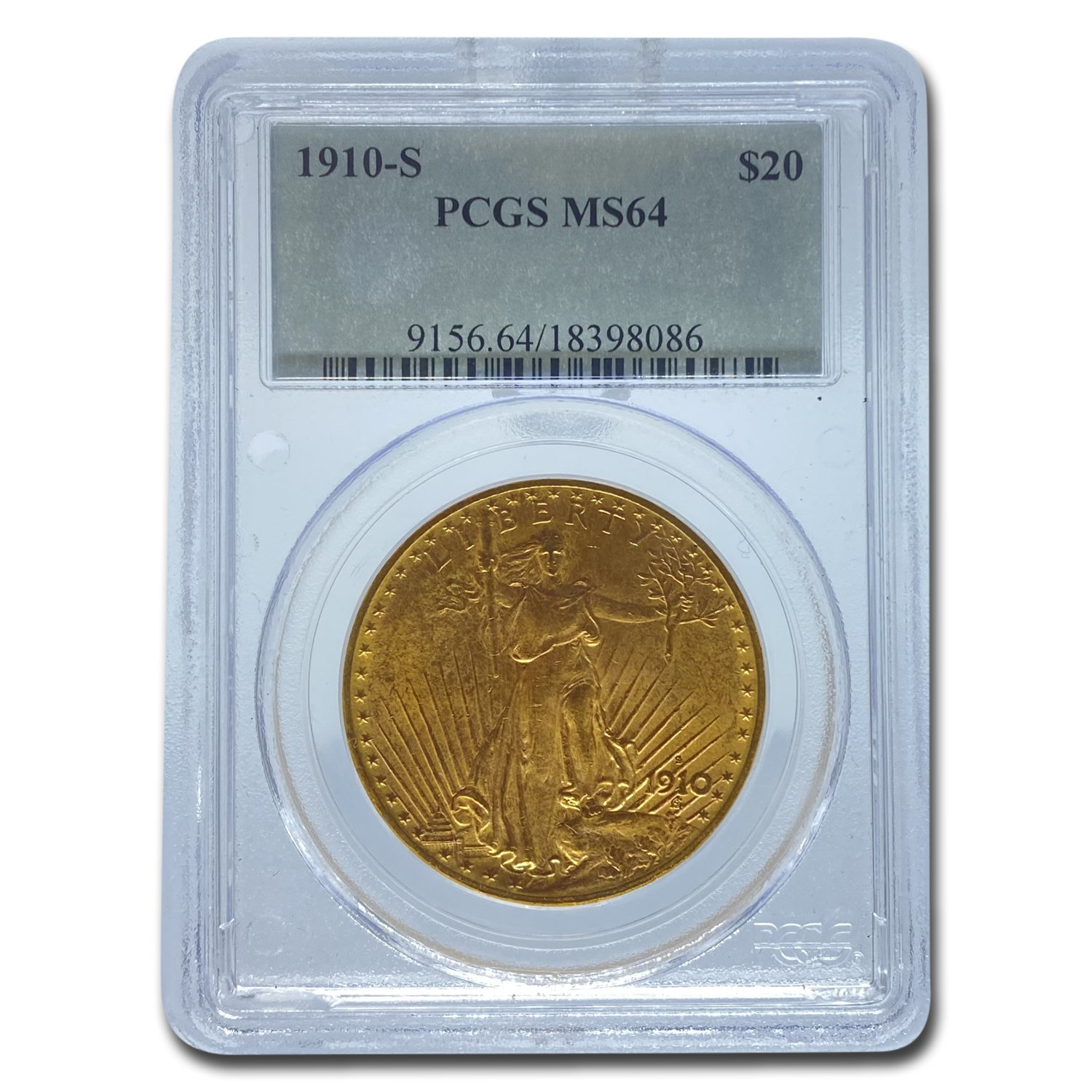 1910-S $20 Saint-Gaudens Gold Double Eagle MS-64 PCGS