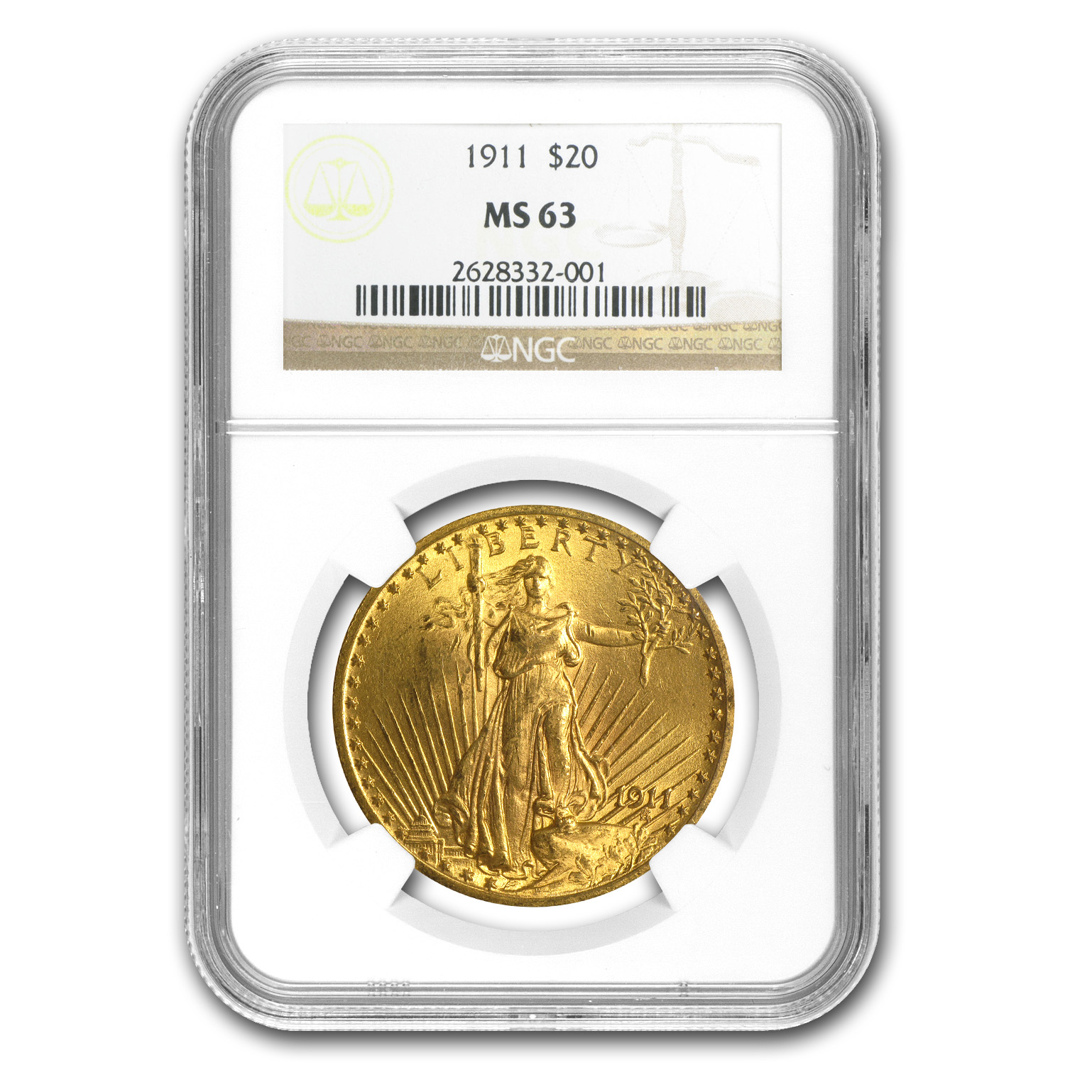 1911 $20 St. Gaudens Gold Double Eagle - MS-63 NGC
