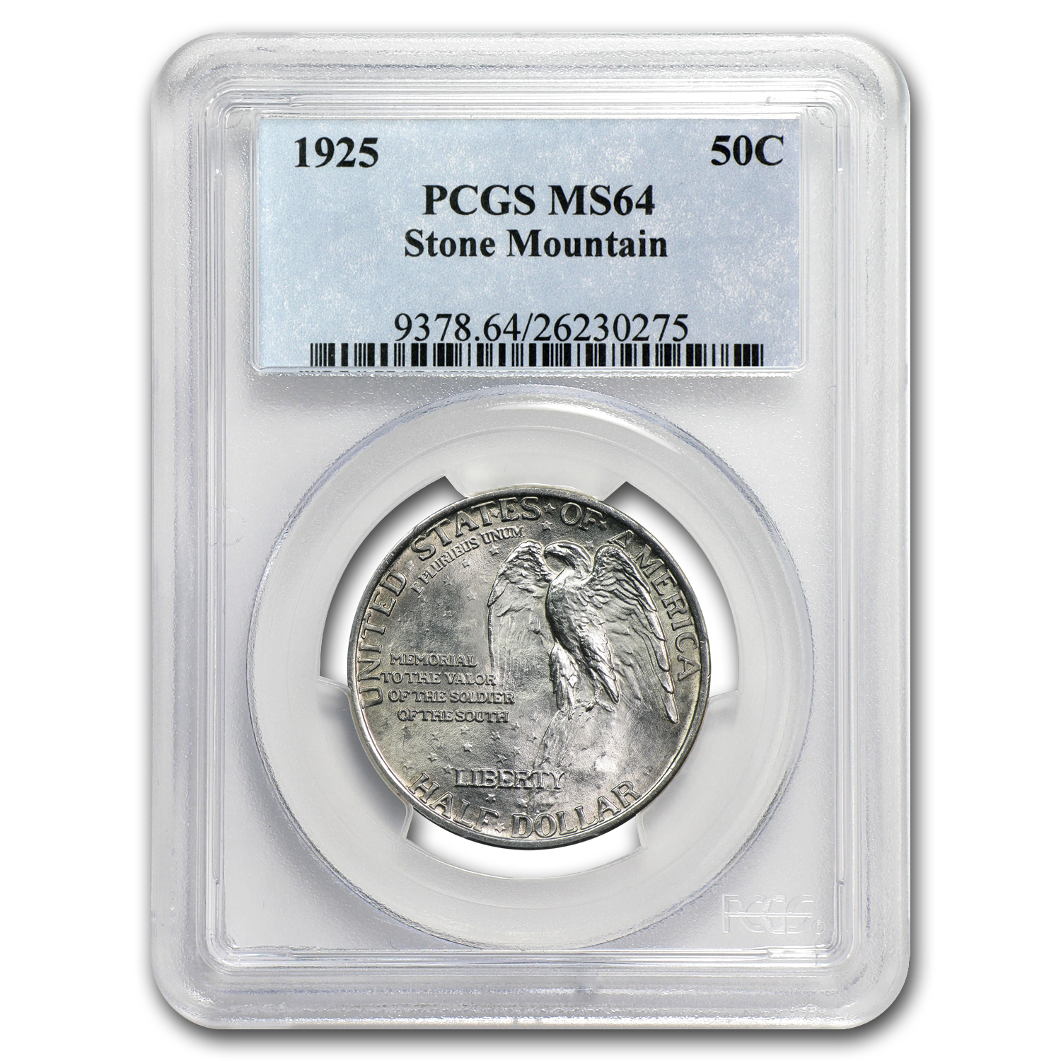 1925 Stone Mountain Memorial Half Dollar Mint State-64 PCGS