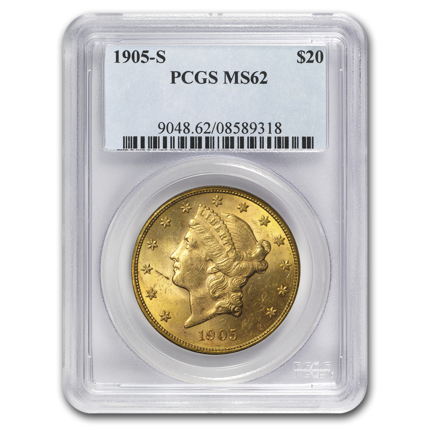 1905-S $20 Liberty Gold Double Eagle MS-62 PCGS